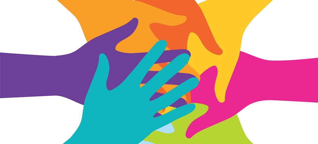 colourful hand depicting teamwork