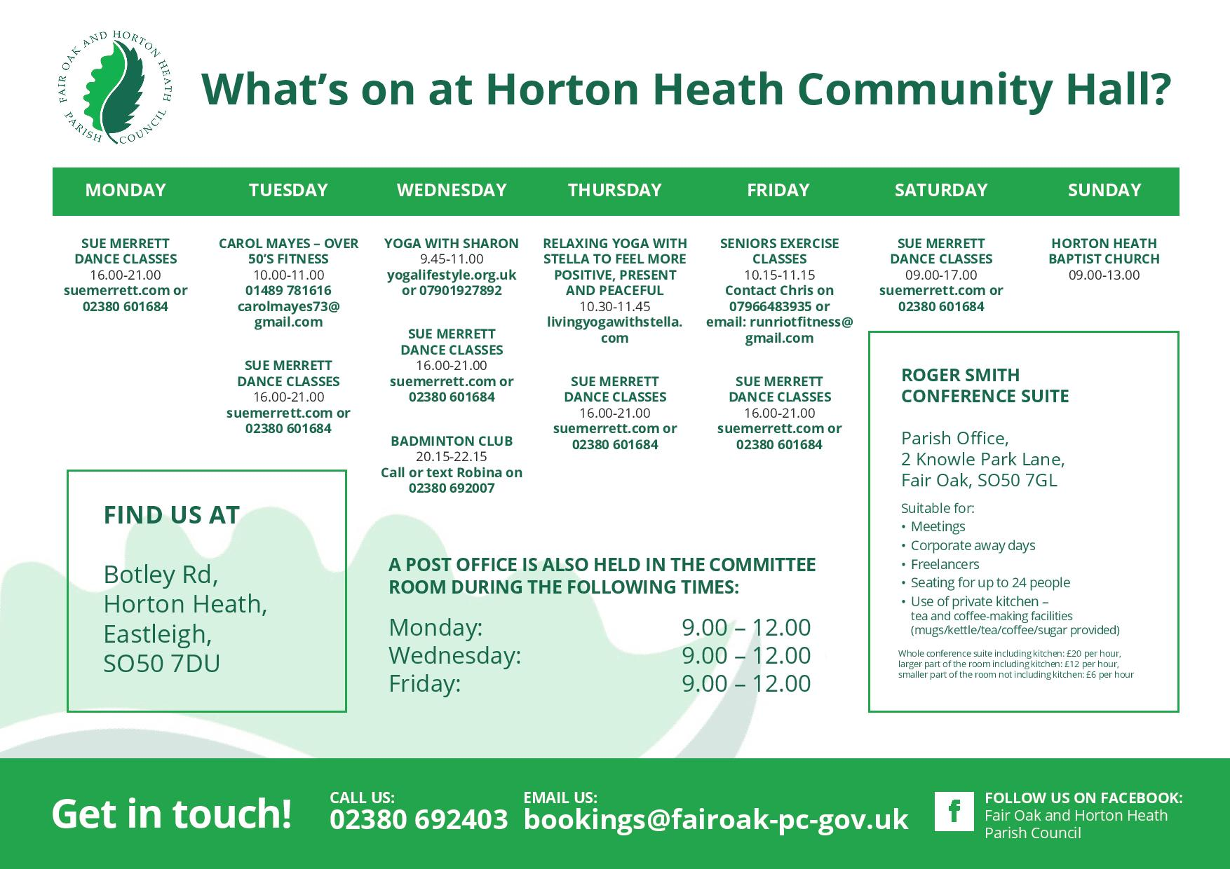 Image listing the community groups running at Horton Heath Community Centre in 2020