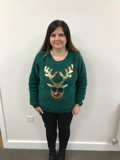Councillor Forfar in christmas jumper