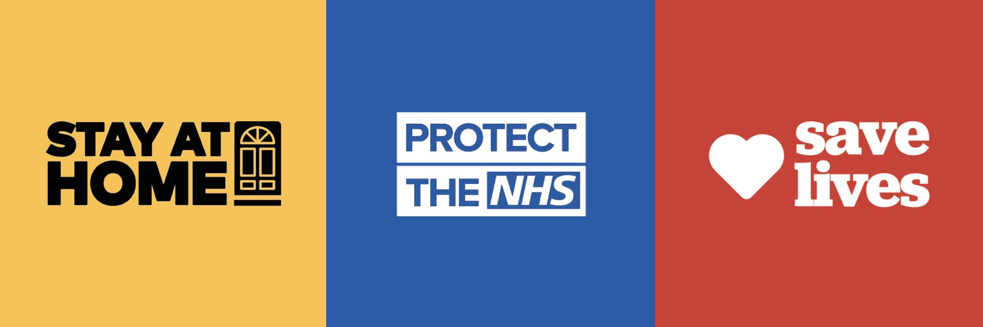 Coronavirus public safety message - Stay at home, protect the NHS, safe lives